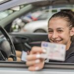 Girl with driving license